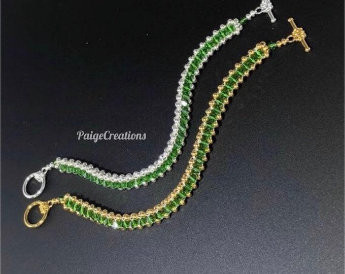 Swarovski Crystal Bracelet, Swarovski bracelet, crystal bracelet, 24k gold bracelet, silver bracelet, beaded bracelet, green bracelet