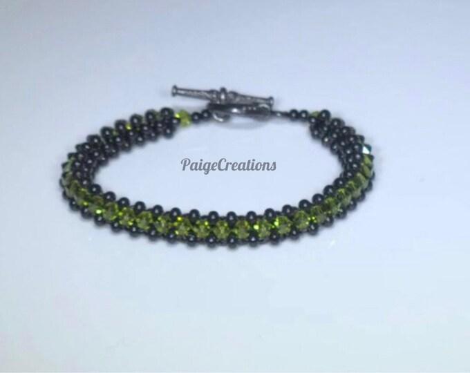 Swarovski Crystal Bracelet, Swarovski bracelet, crystal bracelet, beaded bracelet, black beaded bracelet, green bracelet, woven bracelet