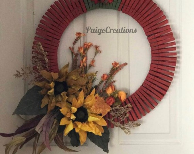 Fall wreath, fall foliage wreath, clothespin wreath, sunflower, wreath, hand painted wreath, acorn wreath, leaf wreath