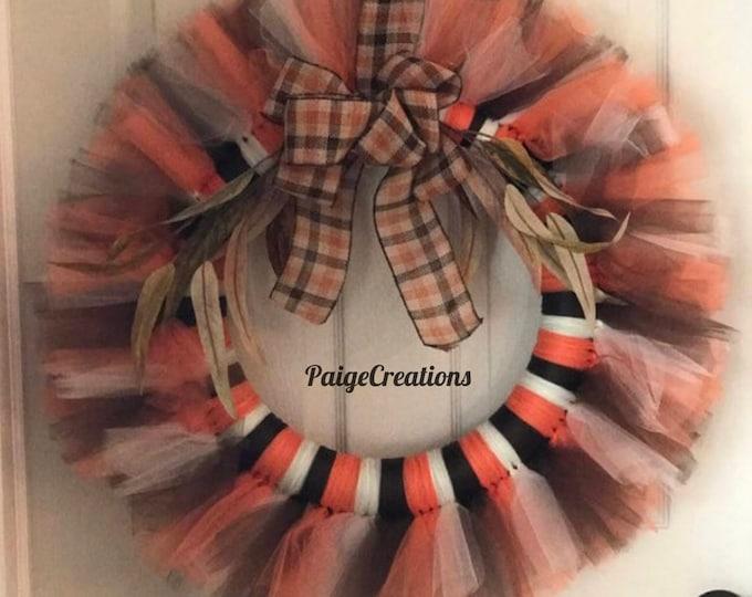 Fall wreath, fall tulle wreath, tulle wreath, ribbon wreath, fall ribbon wreath, foliage wreath, fall foliage wreath
