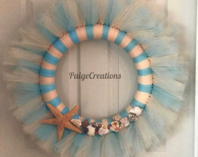 Coastal wreath, tulle wreath, beach wreath, nautical wreath, spring wreath, summer wreath, sea shell wreath