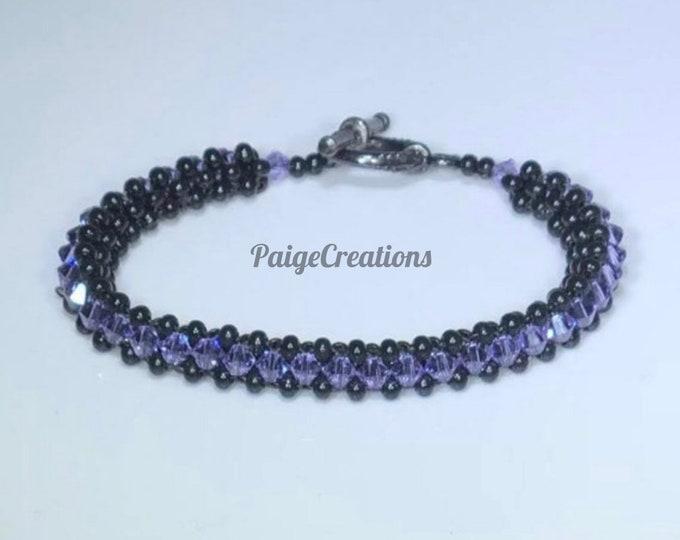 Swarovski Crystal Bracelet, Swarovski bracelet, crystal bracelet, black bracelet, black beaded bracelet, beaded bracelet, purple bracelet