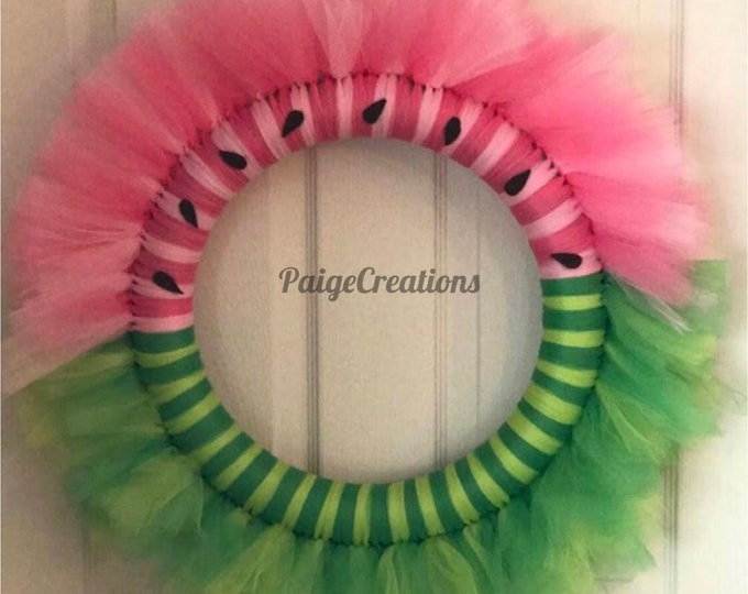 Watermelon wreath, tulle wreath, fruit wreath, pink wreath, green wreath, summer wreath, spring wreath, felt wreath
