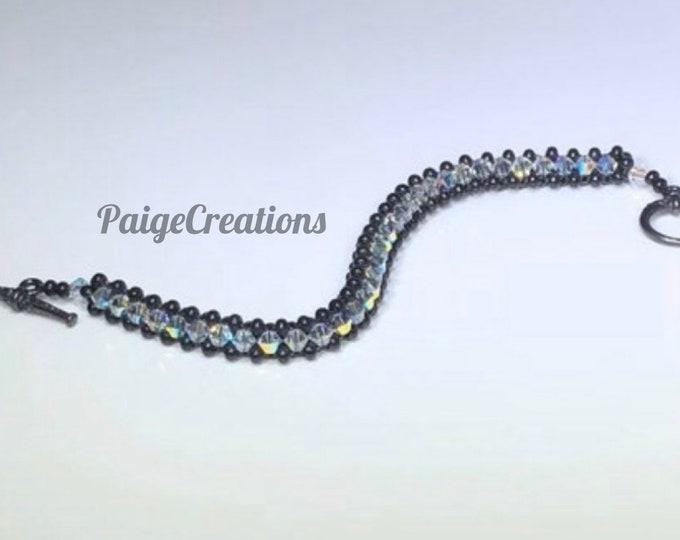 Swarovski Crystal Bracelet, Swarovski Bracelet, Crystal bracelet, beaded bracelet, black bracelet, black beaded bracelet, woven bracelet