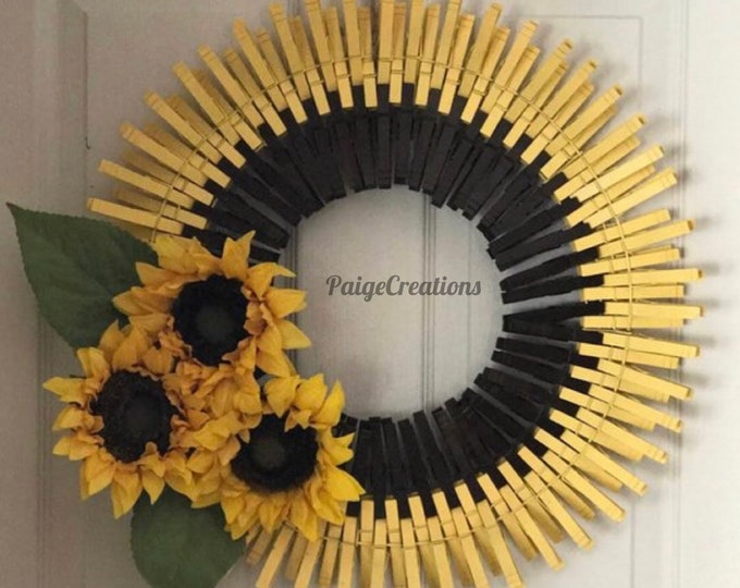 Sunflower Wreath, Clothespin Wreath, Wreaths, Summer Wreath, Spring Wreath, wood wreath, Wire Wreath