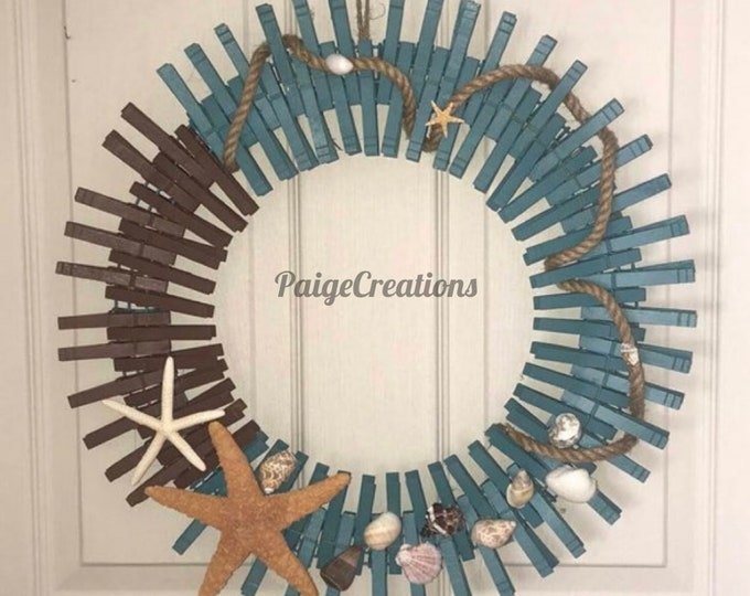 Coastal wreath, coastal clothespin wreath, clothespin wreath, nautical wreath, beach wreath, hand painted wreath, sea shell wreath