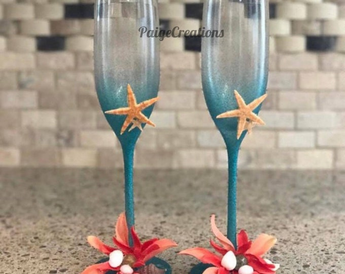 wedding glasses, wedding champagne flutes, champagne flutes, coastal glasses