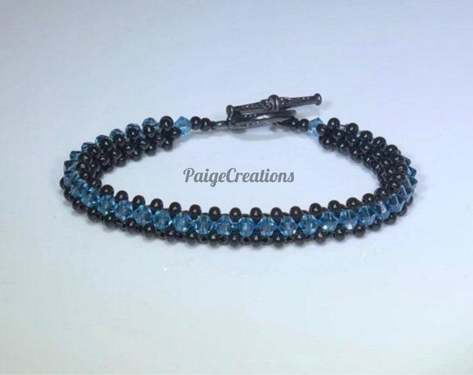 Swarovski Crystal Bracelet, Swarovski bracelet, crystal bracelet, black bracelet, , beaded bracelet, Aquamarine bracelet