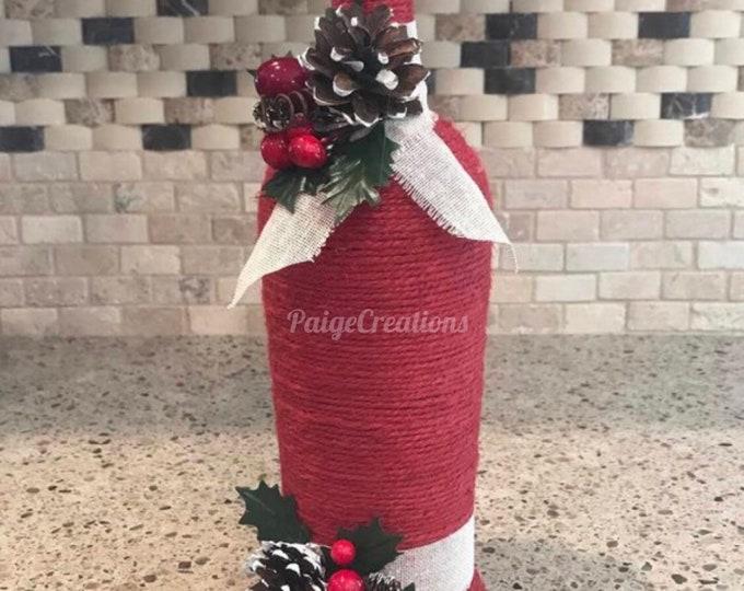 Christmas decor, wine bottle decor, wine bottle vase,  christmas wine bottle, christmas vase