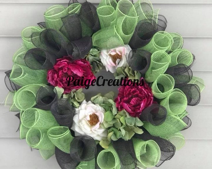 Fall wreath, mesh wreath, deco mesh wreath, floral wreath, silk flower wreath