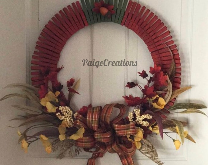 Fall wreath, fall foliage wreath, clothespin wreath, foliage wreath, hand painted wreath, acorn wreath, leaf wreath