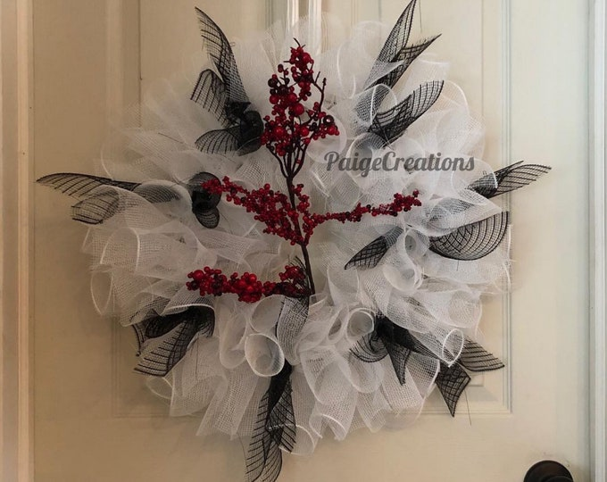 Mesh wreath, white wreath, black and white wreath, handmade wreath
