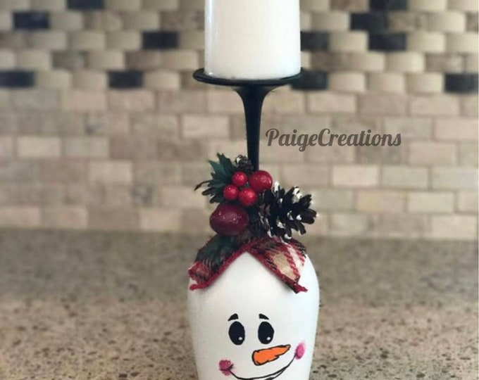 wine glass candle holder, christmas candle holder, christmas candle, christmas decor, hand painted wine glass, christmas wine glass