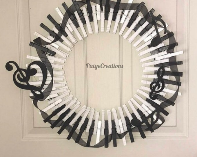 Piano wreath, music wreath, clothespin wreath, music note wreath, musician wreath, hand painted wreath, ribbon wreath
