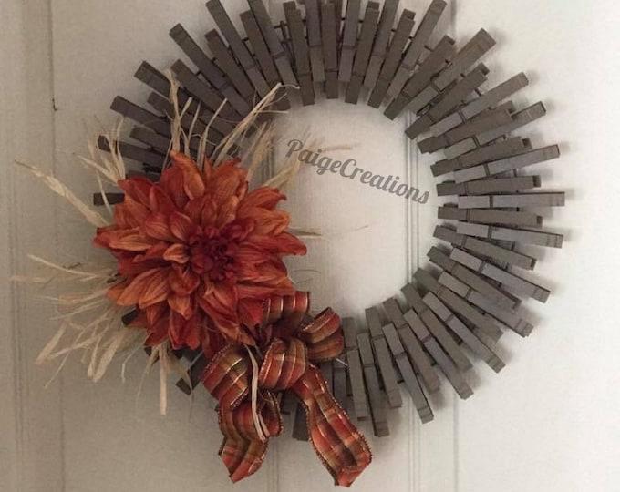 Fall wreath, fall flower wreath, clothespin wreath, fall clothespin wreath, straw wreath, hand painted wreath, plain ribbon wreath