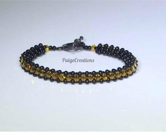 Swarovski Crystal Bracelet, Swarovski bracelet, crystal bracelet, beaded bracelet, black bracelet, black beaded bracelet, yellow bracelet