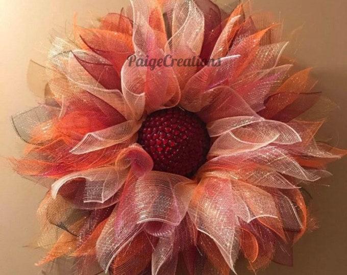 Orange deco mesh wreath, orange wreath, deco mesh wreath, deco mesh flower, deco mesh flower wreath, flower wreath, fall wreath