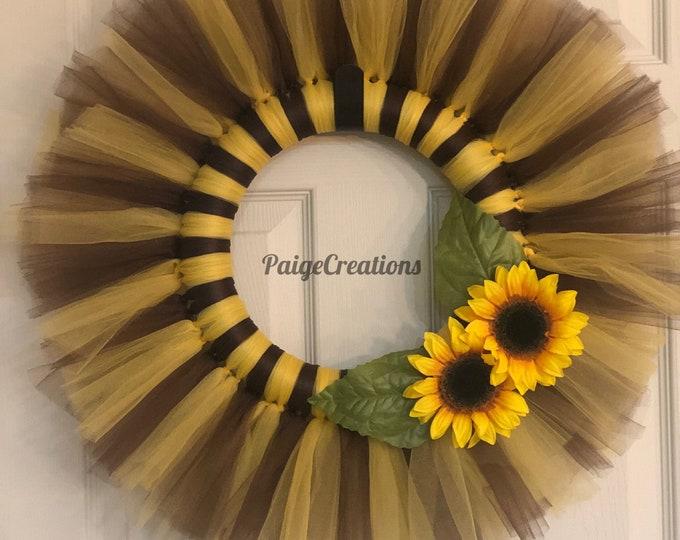 Sunflower wreath, spring wreath, summer wreath, tulle wreath