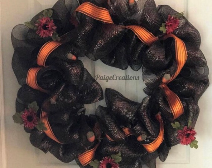 Fall wreath, brown fall wreath, brown and orange wreath, deco mesh wreath, fall deco mesh wreath, fall mesh wreath