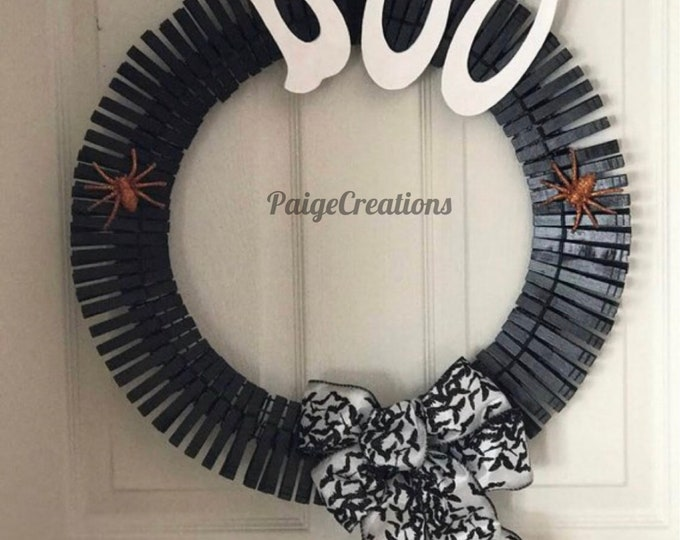 Halloween wreath, clothes pin wreath, halloween clothes pin wreath, hand painted wreath, black wreath, black halloween wreath