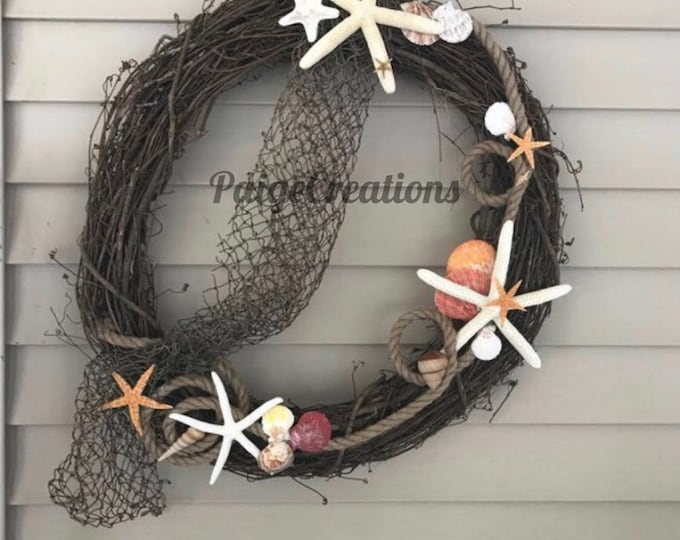 Grapevine Wreath, Coastal Wreath, Sea Shell Wreath, Summer Wreath, Beach Wreath, Shell Wreath, Nautical Wreath