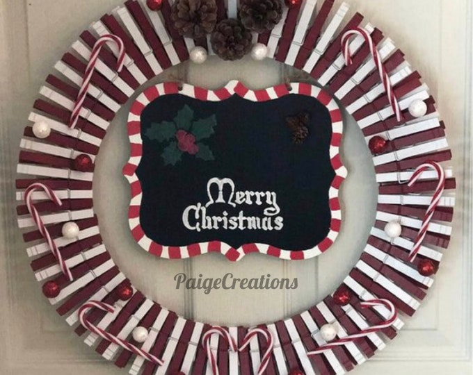 Christmas wreath, holiday wreath, clothespin wreath, candy cane wreath, pine cone wreath, red wreath, white wreath, hand painted wreath