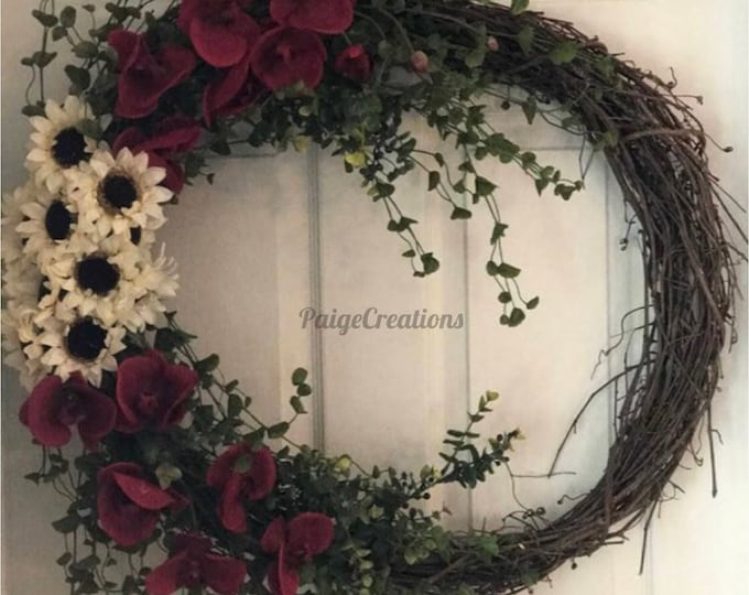 Spring Wreath, Summer Wreath, grapevine wreath, floral wreath