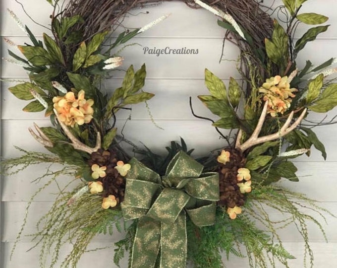 Grapevine wreath, deer antler wreath, fall grapevine wreath, greenery wreath, fall wreath