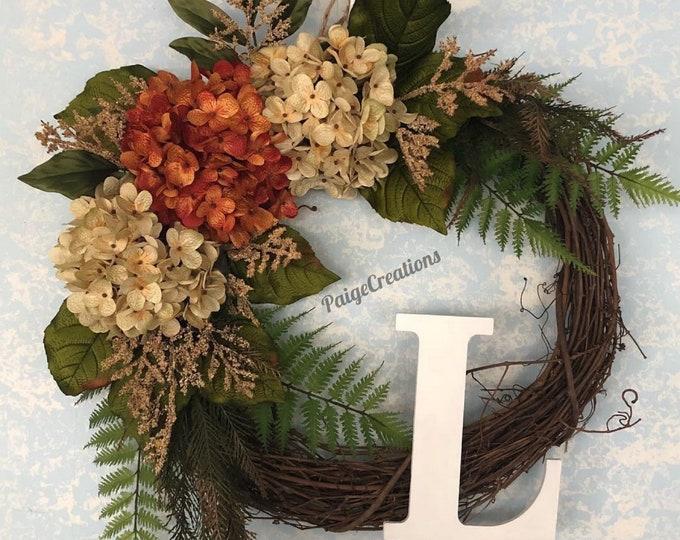 Wreath, grapevine wreath, hydrangea wreath, Letter wreath, Initial wreath, Floral Wreath, fall wreath