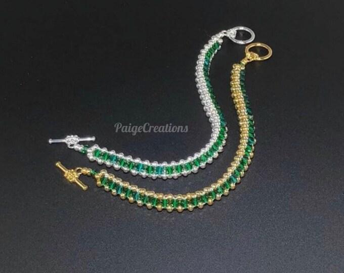 Swarovski Crystal Bracelet, swarovski  bracelet, crystal bracelet, silver bracelet, 24k gold bracelet, beaded bracelet, emerald bracelet
