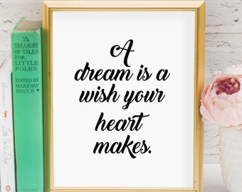 A dream is a wish your heart makes Printable // Cinderella // Quote // Lyrics