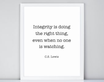 Integrity Quote Etsy