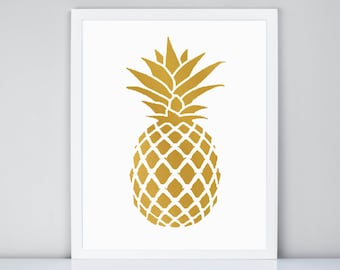 Gold Pineapple Printable, Gold Pineapple Digital Printable