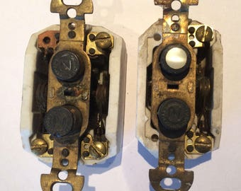 2 antique snap switch push button on off mother of pearl brass
