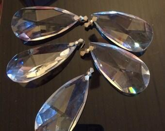 "5 Vintage Glass Crystal Chandelier Pendants 2.5"" Wedding Party   C7"