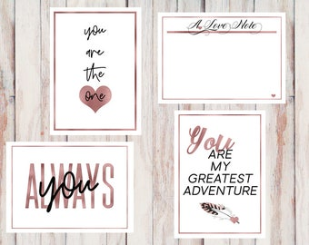 "Rose Gold Valentines and Love Notes. Printable, Frame-able and Give-able. 5""x7"" flat or folded."