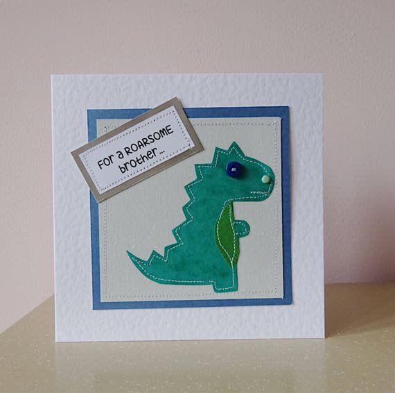 Dinosaur Card For Brother T Rex Birthday Son Green Dino Boy