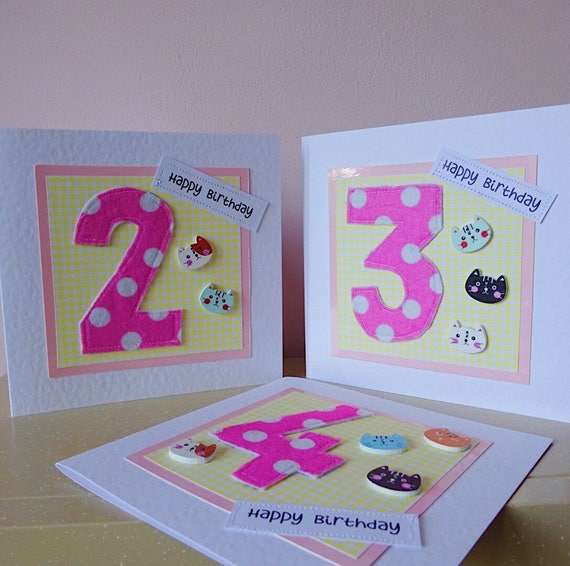 Girl 2nd Birthday Card Daughter 4th Cute Cat