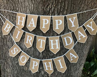 Custom Name Burlap Happy Birthday Banner, Birthday Decoration, Happy Birthday Sign