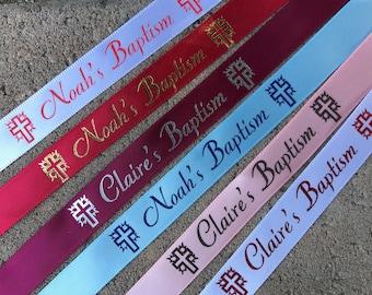 Baptism Personalized Stamped Satin Ribbon 10 yards