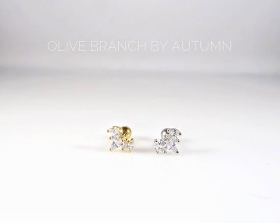 1568dd6321cc3 Flash Sale ** Mini Cubic Zirconia 5 Stones Cartilage Barbell Earring |  Crystal Tragus Earrings | Dainty Studs | CZ Crown Stud| Crown conch