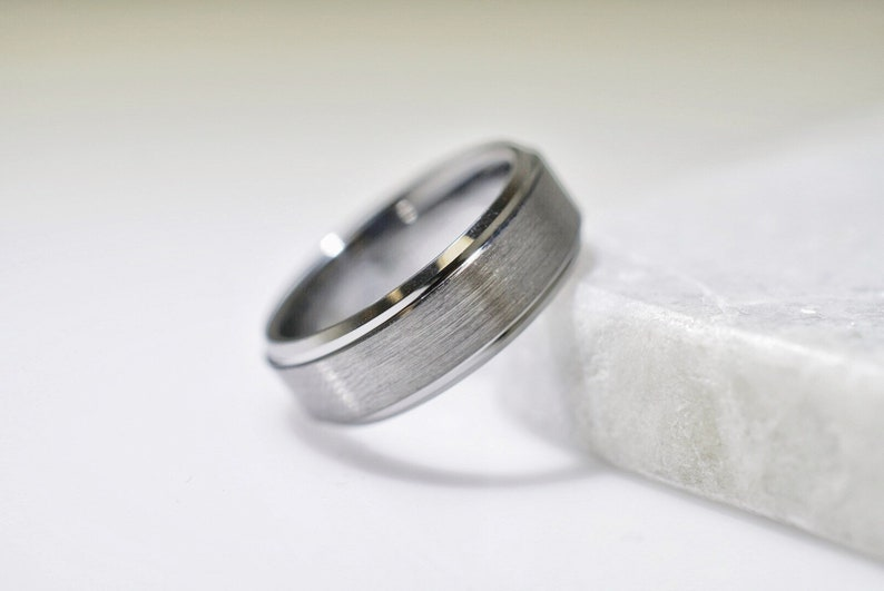 Gifts With Thought Free Engraving Tungsten Carbide 8mm Brushed Pipe Cut Ring Wedding Band Ring