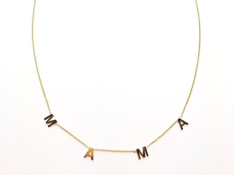 4b8aa89371674 14k Solid Gold Spaced • Letter • Name • Necklace|Rose Gold |White Gold  Initial Necklace | Personalized Necklace Spaced out letter necklace