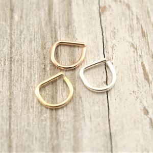 D Septum ring,Smooth D septum ring,Gypsy septum ring,Septum Hoop,Septum Jewelry,16gauge,18gauge,20gauge,Rose Gold,Smooth boho septum ring,