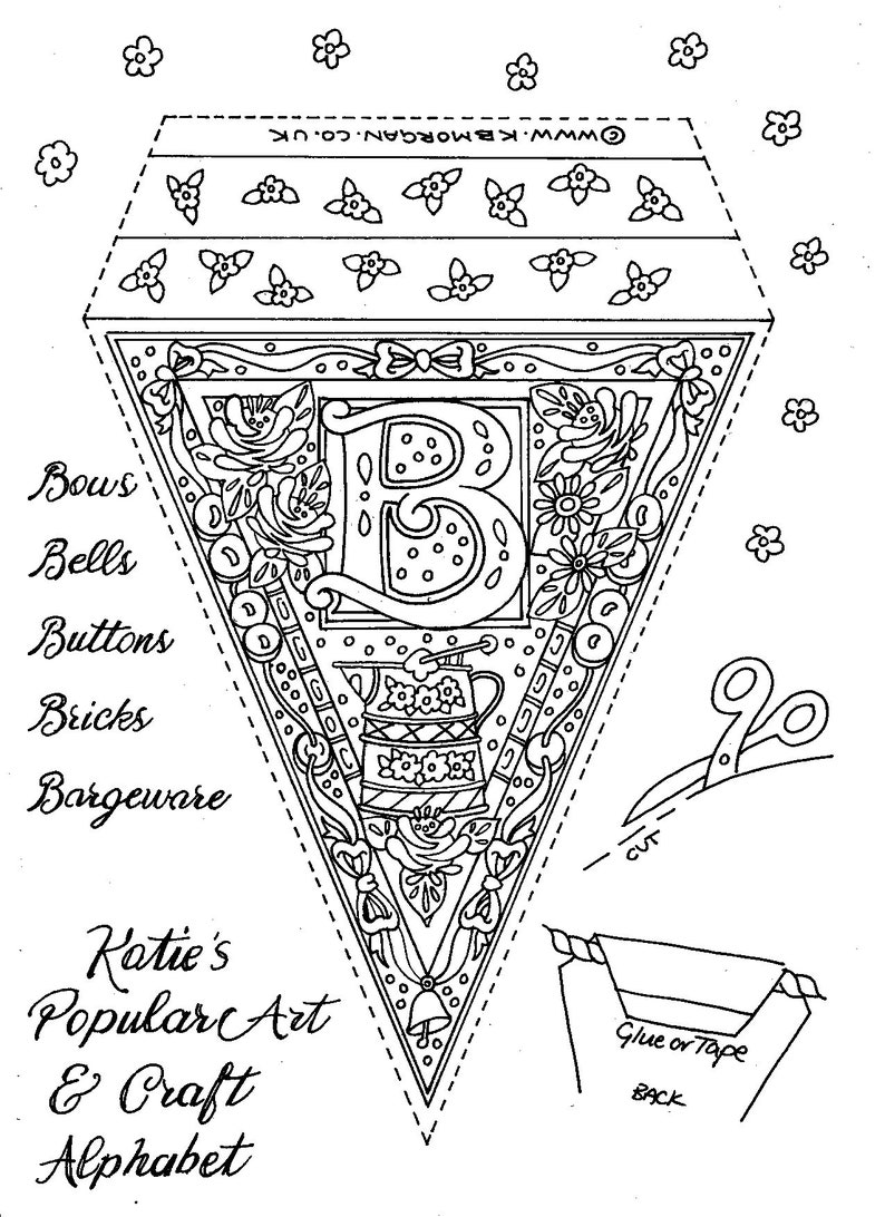Alphabet Bunting 26 A4 colouring sheets  Download. image 0