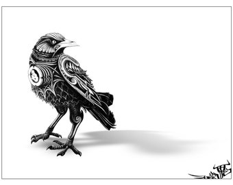 "The Medieval Crow from The Future (Large Semi-Gloss Print - 3' x 24"")"