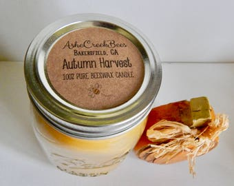 Autumn Harvest Scented Pure Beeswax Candle