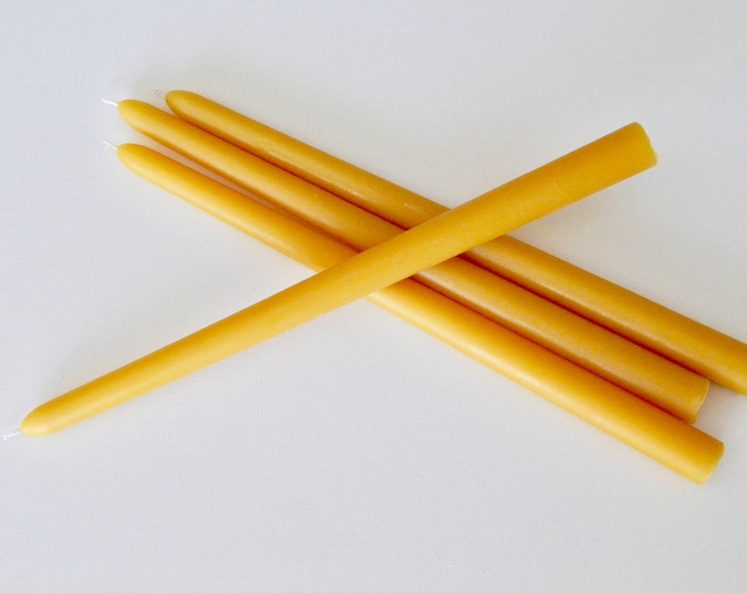 "Featured listing image: 12"" Handcrafted Pure Beeswax Taper Candles"