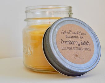 Cranberry Relish Scented Pure Beeswax Candle