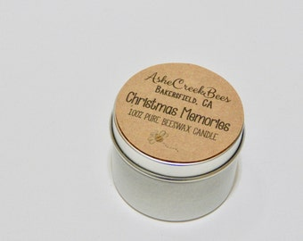 Christmas Memories Scented 100% Pure Filtered Beeswax Candle